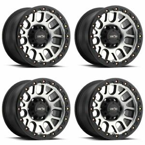 Set 4 17 Vision 111 Nemesis Black Machined Wheels 17x9 8x6 5 12mm Chevy 8 Lug