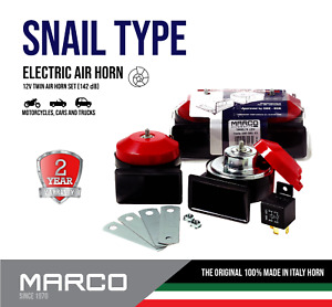 Marco European Made Premium Car 142db 2pcs Loud Dual Tone Snail Electric Horn