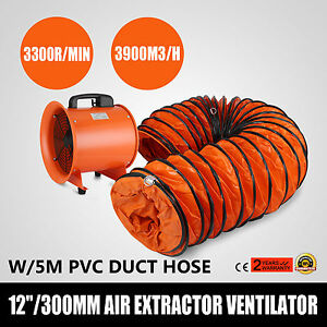12 Extractor Fan Blower Ventilator 5m Duct Hose Electrical Air Mover Us Stock