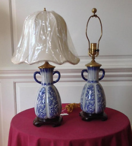 Pair Of Old Blue And White Oriental Handle Vase Lamp