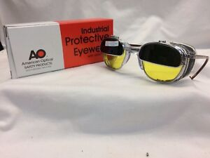 American Optical Welding Glasses Iruv Flip Up Cable Temples Custom Yellow Lens