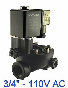 3 4 Inch Pa66 Plastic Electric Air Water Solenoid Valve Manual Override 110v Ac