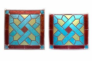 Red Blue Yellow Stained Glass And Leaded Panels A Pair