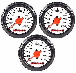 Three Air Gauges Dual Single Needle 200psi Air Ride Suspension System 2 White