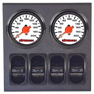 2 Dual Needle White Air Gauges 200psi Display Panel With 4 Paddle Switches