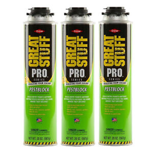 Dow Great Stuff Pro 20 Oz Pestblock Foam Sealant 3 Cans 11073754