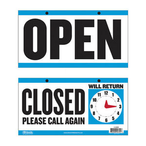 Bgki 4399144 bazic 6 X 11 5 closed Clock Sign W open Sign On Back Case