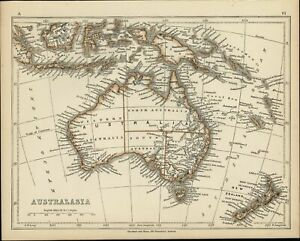 Australia 1853 Lowry Antique Map Tooley 878 W Erroneous Hooked Lake Torrens