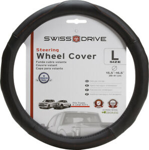 Large Steering Wheel Cover Black Wood Accent Trucks Suv s 15 5 16 5 l New