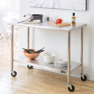 Portable 48 In Adjustable Stainless Steel Table With Wheels And Shelf