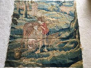 Antique French Aubusson Woven Tapestry Fragment Chateau C 17th 18thchildren Cows