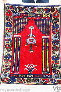 Stunning Antique 1900 1939s 3x5ft Multi Colored Wool Pile Child Prayer Rug