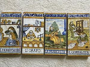 Italian Tiles Found Near French Mediterranean Set Of Four