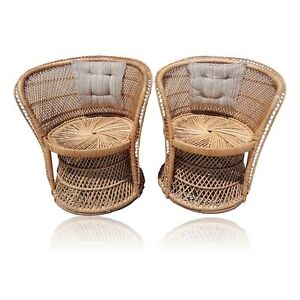 Vtg Pair Woven Rattan Barrel Back Chairs Wicker Boho Regency Palm Beach Coastal