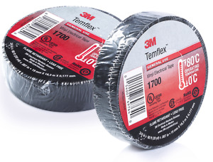 3m Temflex 1700 Electrical Tape Black 3 4 X 60 Ft Insulated Electric 2 Rolls