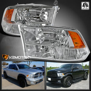 For 2009 2018 Dodge Ram 1500 2500 3500 Clear Quad Headlights Lamps Left right