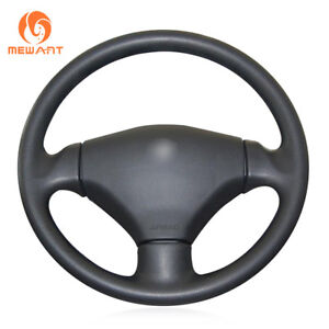 Diy Soft Black Artificial Leather Steering Wheel Cover For Peugeot 206 2003 2006
