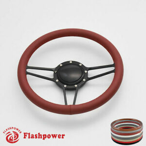 14 Billet Steering Wheels Burgundy Full Wrap Impala Chevy Ii Nova Chevelle