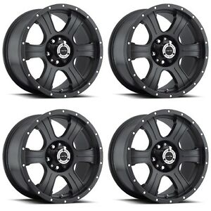 Set 4 16 Vision 396 Assassin Black Wheels 16x8 5x5 0mm Jeep Wrangler 5 Lug Rims