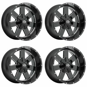 Set 4 18 Vision 411 Arc Black Milled Rims 18x9 6x135 6x5 5 12mm Ford Gmc 6 Lug