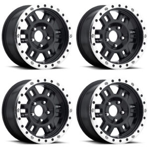 Set 4 16 Vision 398 Manx Black Machine Wheels 16x7 6x5 5 0mm Chevy Gmc 6 Lug