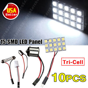 10x Pure White 5050 15smd Panel Dome Interior Led 1156 Festoon T10 Ba9s Adapter