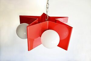 Mid Century Pendant Light Acrylic Red White Star Globe Hanging Lamp Vintage