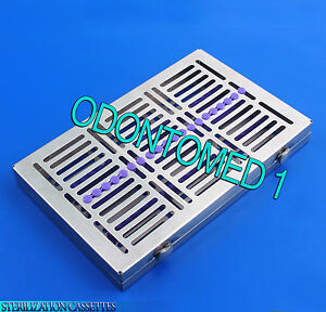 Dental 20 Instruments Sterilization Cassette Tray Racks Turn Lock St 002