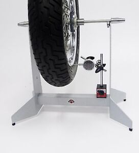 Motorcycle Wheel Static Balancer Truing Stand With Dial Indicator Kit White