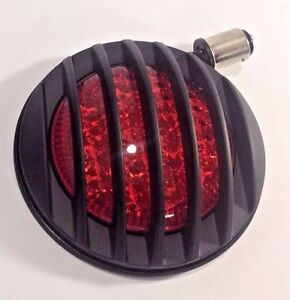 Flush Fit Universal Round Led Tail Light Hot Rod Black Finned Grill Motorcycle