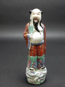 Antique Chinese Famille Rose Statue Of Sho Lu Immortal 9 5 China Circa 1900