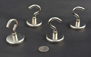 10 Pot Magnets W Hook 2 X 5 16 50x8mm 160lbs Pull Force Nickel Coated