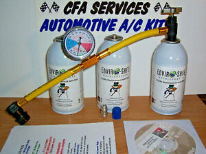 R12 Compatible A c Refrigerant 1994 Older 3 Can Recharge Refill Kit Dvd