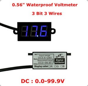 10pcs Waterproof Blue Digital Display 0 56 3 Bit 3 Wires Voltmeter Dc 0 99 9v