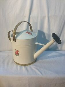 Large Vintage Tole Painted Brass And Steel Watering Can Farmhouse Primitive