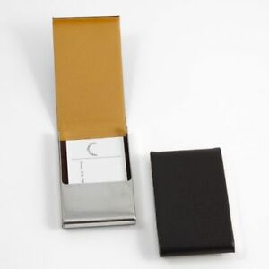 New Bey Berk Brown Leather Business Card Case With Flip Top