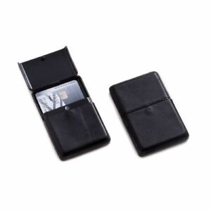 New Bey Berk Black Leather Business Card Case With Flip Top