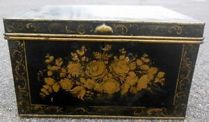 Antique 19th C Painted Tole Metal Trunk Chest Roses Florals Rare Large S