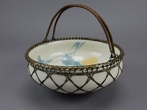 Antique Japanese Awaji Pottery Bowl Basket Woven Silver Bronze Overlay Japan