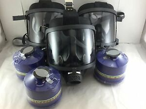 Scott sea Domestic Prep 3pak Gas Masks W 3x Mestel Nbc cbrn Filters Exp 11 2022