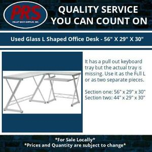 Used Glass L Shaped Office Desk 56 X 29 X 30