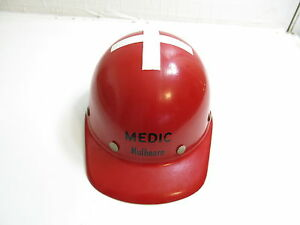 Vintage 1950 s Mulhearn Medic Red Miners Hat With White Cross On Top Fibre Metal