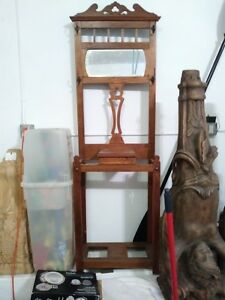 Antique Wooden Oak Hall Tree With Mirror Hooks Central Storage Box 74 X 23
