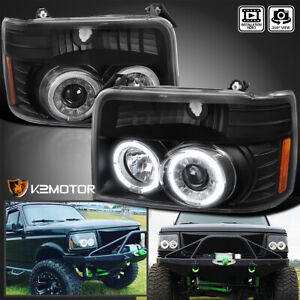 For 1992 1996 Bronco F150 F250 F350 Black Led Halo Projector Headlights Lamps