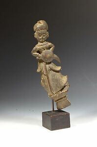 Authentic Antique 19th Century Chinese Wood Carving Standing Figure