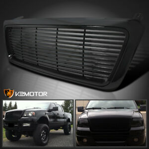 2004 2008 Ford F150 Pickup 1pc Black Billet Style Front Hood Grille Grill Black