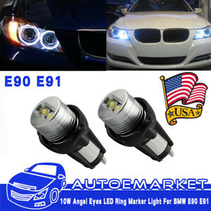 2x Led Angel Eye Halo Ring Marker Light Bulb 20w For Bmw E90 E91 With Error Free