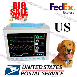 Usa Fedex Veterinary Icu Patient Monitor 6 parameters Ecg Nibp Spo2 Pr Resp Temp