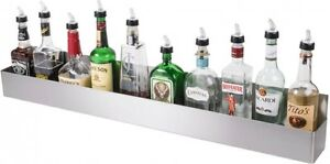 42 Silver Stainless Steel Single Tier Liquor Holder Bar Speed Rail Display Rack
