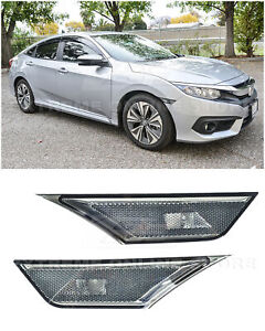 For 16 up Honda Civic Smoke Front Bumper Reflector Side Marker Lights Lamps